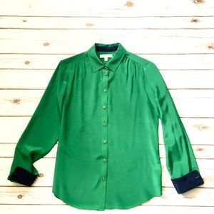 Banana Republic 100% silk green blouse