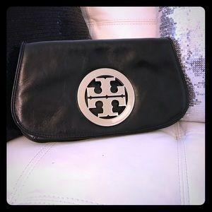 Tory Burch black  and silver clutch/ cross body