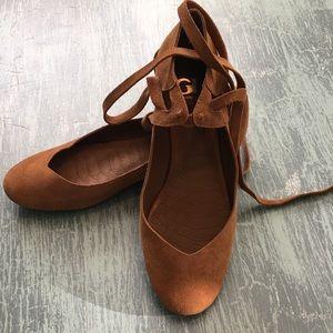Gianni Bini Jayce Suede Tassel Ankle Tie Flats 8.5