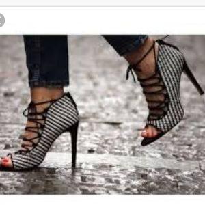 Zara Checkered Lace Up Heel