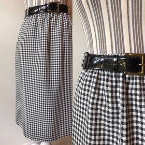 Gingham pencil skirt + belt