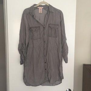 Philosophy Shirt Dress - Gray - Size Medium