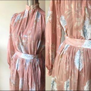 Vintage cotton floral set: blouse + skirt + belt