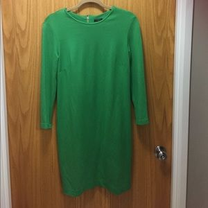 Ann Taylor shift dress green with gold zippers