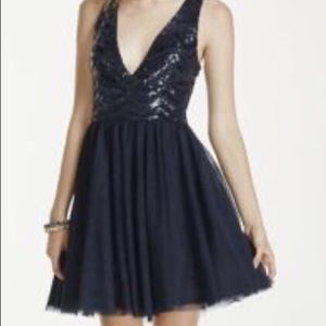 Sequined navy short dress
