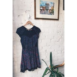 Urban Outfitters Velvet Skater Dress with Lace