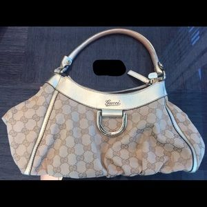Gucci Beige and Gold Monogrammed Purse