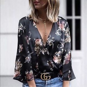 Tops - New! Black Satin Floral Print Kimono Blouse