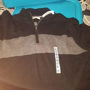 Mens quarter zip sweater bever worn