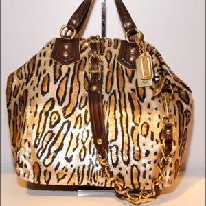 RARE coach 14231 ocelot madison claire sequin bag