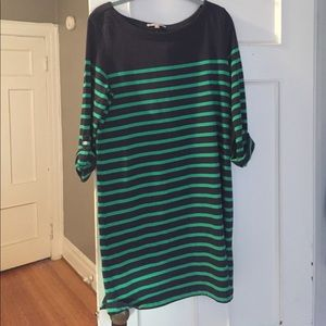 NWT 3/4 striped green and navy dress from the Gap