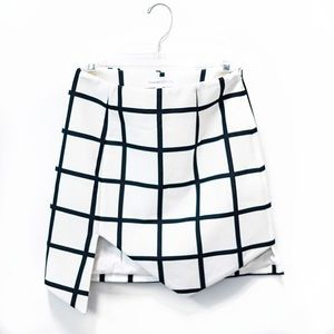 Plaid Check Asymmetrical Skirt Navy Blue White S