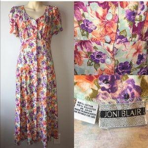 1990s floral button down dress