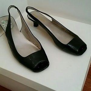 Me Too black open toe shoe