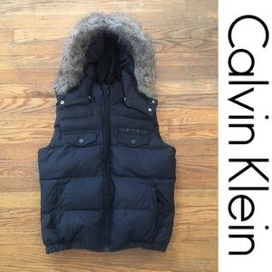 Calvin Klein Brown Puffer Vest w/ Fur Hood