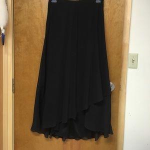 Black Nordstrom Asymmetrical Midi Skirt
