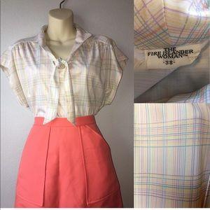 1960s tie neck blouse