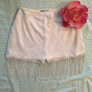Dresses & Skirts - Vintage Fringed lace skirt with shorts.