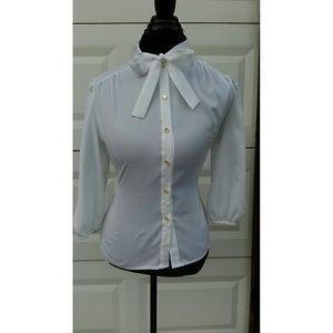White Vintage Bow Blouse