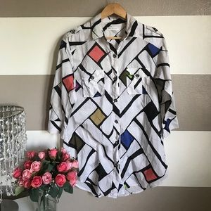 DVF Soleil Swim geometric cover up button Down