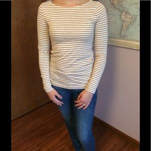 Long sleeve striped cream and gold glitter t