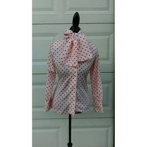 Pink and White Polkadot Vintage Bow Blouse
