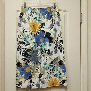 Linen Print Skirt