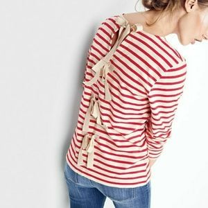 J. Crew Striped T-shirt with Bow-Embellished Back