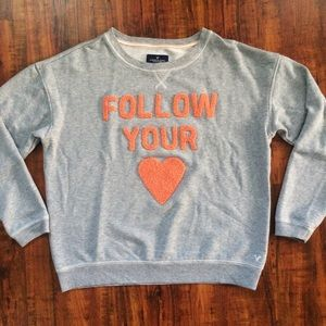 American Eagle Heart Sweater Large