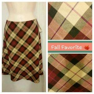 Classic Bias Plaid Print A Line Skirt NWT