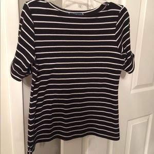 Karen Scott Black and White Striped Shirt