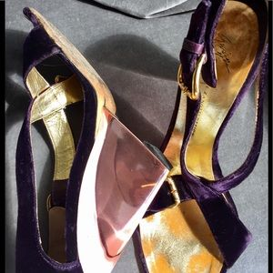 Royal purple velveteen Lucite Giuseppe