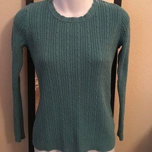 Croft & Barrow S Teal Vtg Long Sleeve Sweater