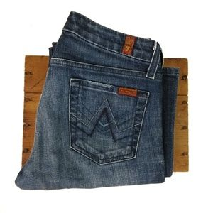 7FAM Navy A Pocket New York Wash Bootcut Jeans