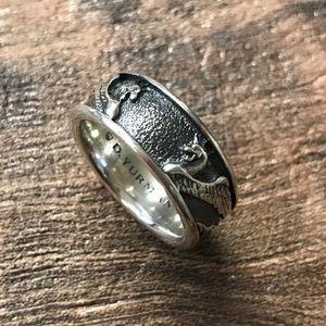 David Yurman men's griffin band ring silver