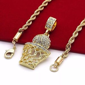 """Iced Out Basketball Pendant & 24"""" Rope Chain"""