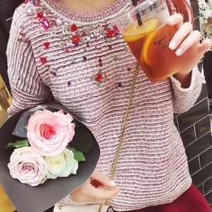 Sweaters - Embellished Knitted sweater with beads & crystals