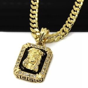 14Kt Gold Plated Cuban Link Chain & Pendant