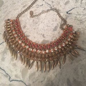 Orange, gold and crystal necklace