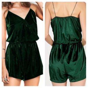 Pants - Green Velvet Romper
