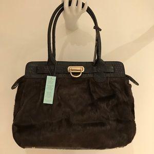 NEW Aqua Madonna Haircalf bag with leather trim.