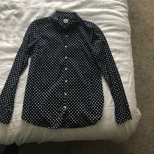 J.Crew Perfect Shirt in navy polka dot