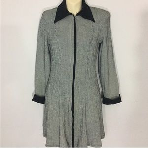 1980s zip up collared dress