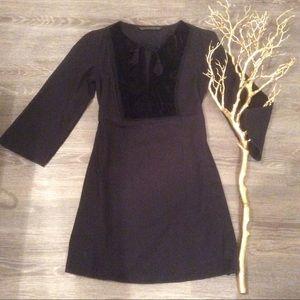 🌾 ZARA little black dress velvet keyhole cutout