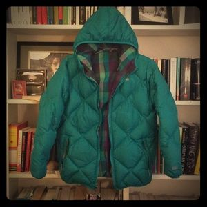 Teal reversible North Face down jacket
