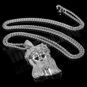 18K White Gold Plated Jesus Piece & Chain