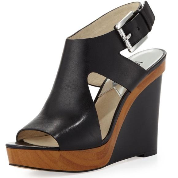 cdb7c77aab Michael Kors Josephine Leather Wedge | 8 | Black. M_59ea797d4e8d17bdb0010b5e