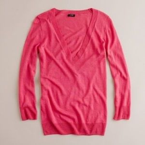 NWT J Crew V Neck Cotton Sweater in Tea Rose Small