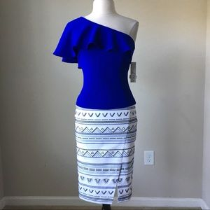 geometric embroidered pencil skirt