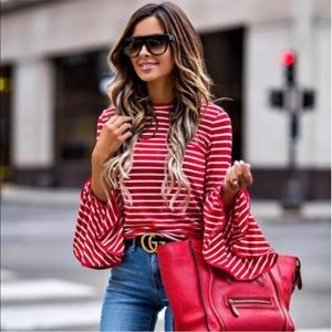 Tops - ❤️Restocked! Red & White Striped Bell Sleeve Top